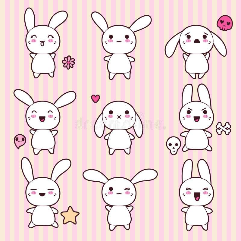Raccolta dei conigli felici divertenti e svegli di kawaii royalty illustrazione gratis