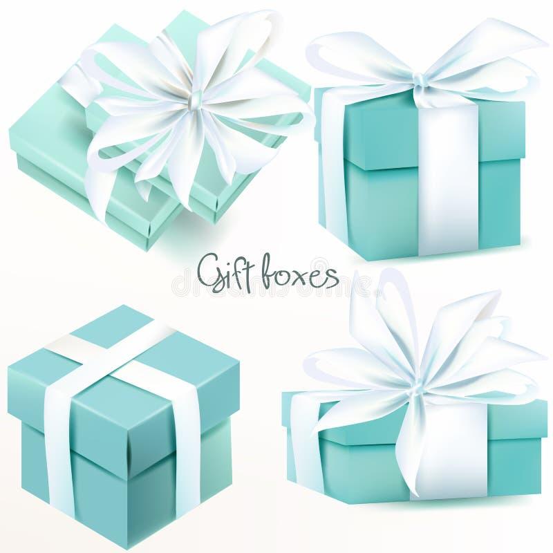 Raccolta dei contenitori di regalo realistici di vettore illustrazione di stock