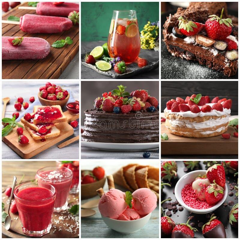 Raccolta dei dessert deliziosi della fragola fotografia stock libera da diritti
