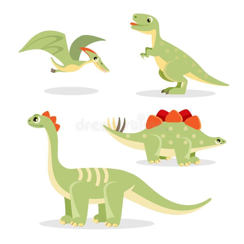 Raccolta dei dinosauri delle icone divertenti sull'illustrazione di vettore royalty illustrazione gratis