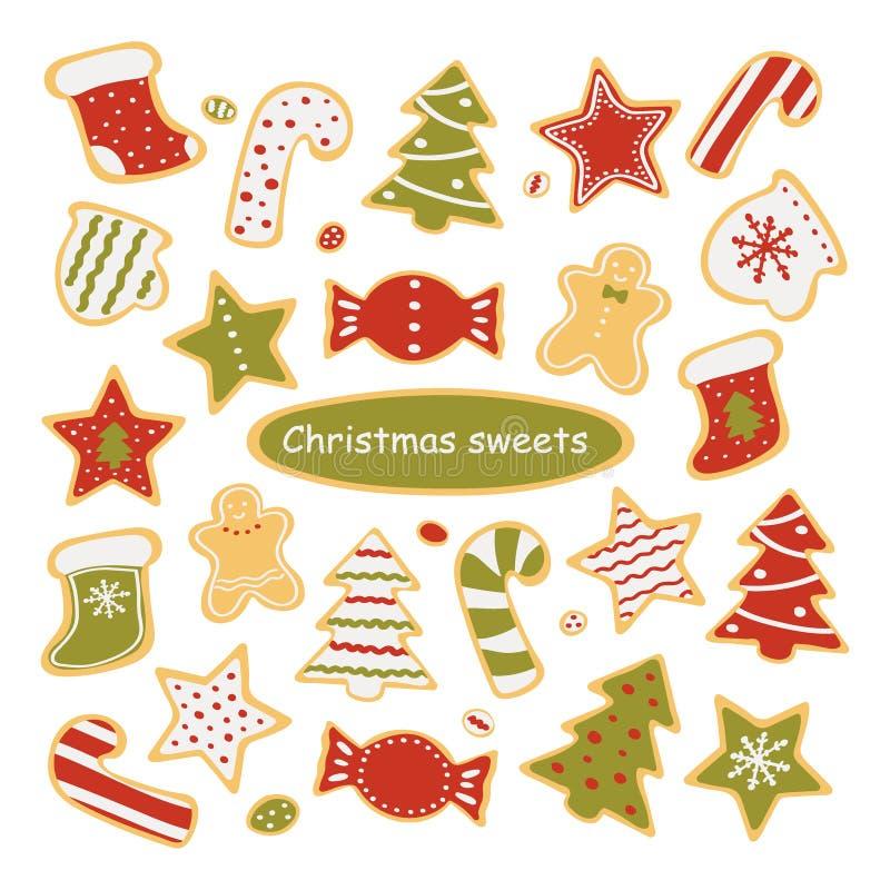 Raccolta dei dolci di Natale isolati su fondo bianco Pan di zenzero e caramella Illustrazione di vettore royalty illustrazione gratis
