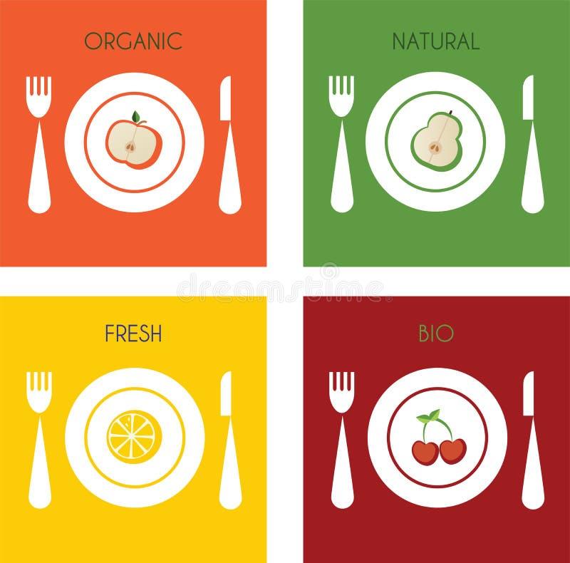 Raccolta dei frutti freschi ed organici sui piatti illustrazione di stock
