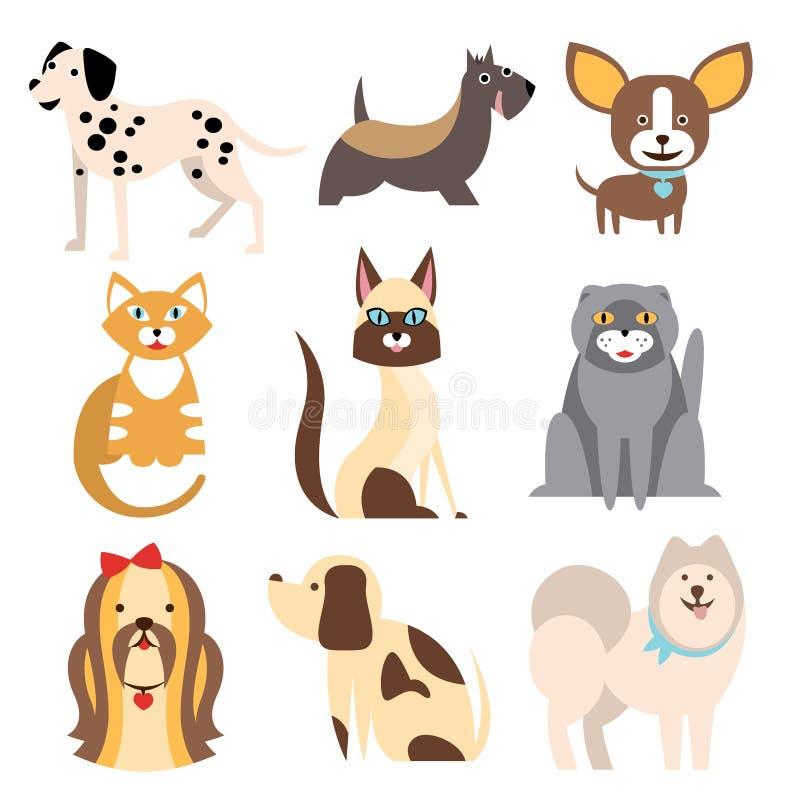 Raccolta dei gatti e delle razze differenti dei cani illustrazione di stock