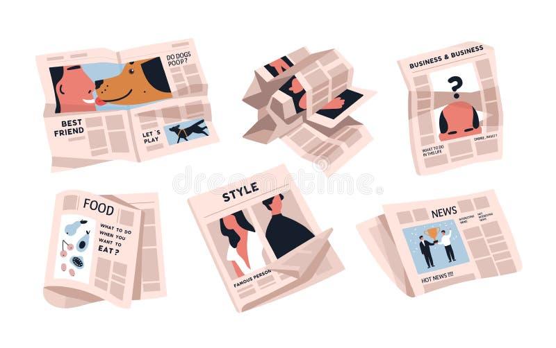 Raccolta dei giornali isolati su fondo bianco Pacco delle pubblicazioni periodiche di vari articoli - notizie illustrazione di stock