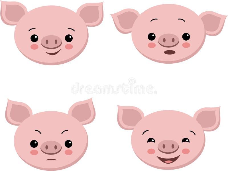 Raccolta dei maiali svegli nello stile del fumetto Maiale di emozione isolato insieme di vettore royalty illustrazione gratis