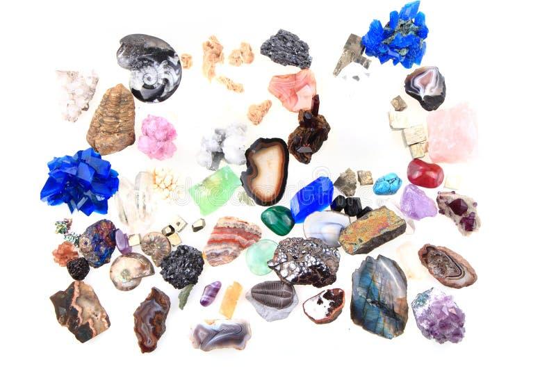 Raccolta dei minerali e delle gemme di colore fotografie stock
