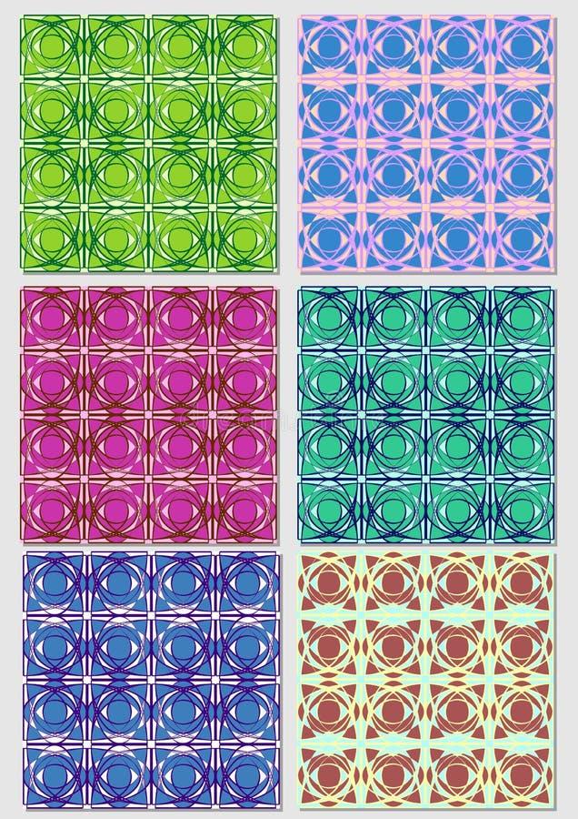 Raccolta dei modelli astratti in varie combinazioni di colore Campione senza cuciture del tessuto di vettore illustrazione vettoriale