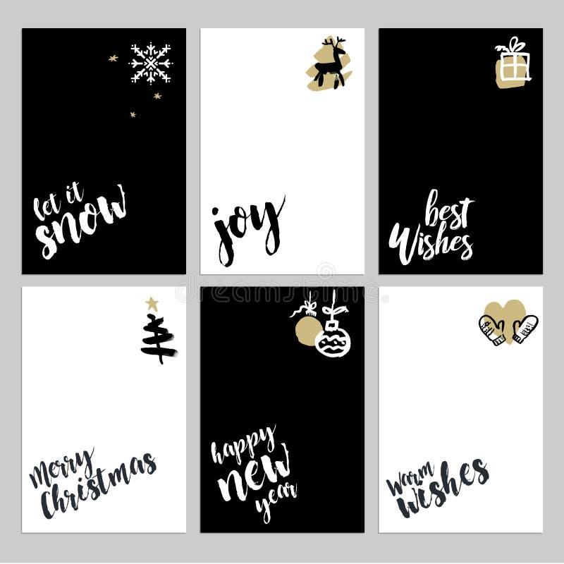 Raccolta dei modelli della cartolina d'auguri del nuovo anno e di Natale illustrazione di stock