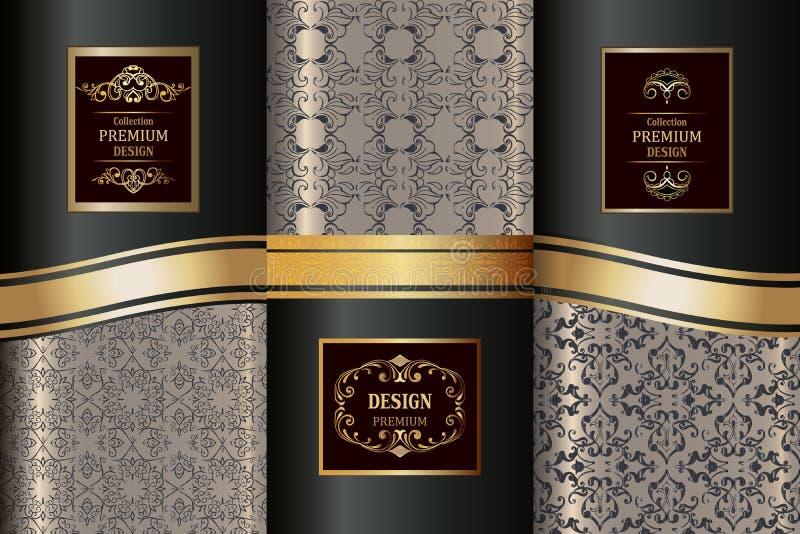 Raccolta dei modelli dorati di lusso Modello senza cuciture orientale della raccolta Elementi d'annata dorati di progettazione royalty illustrazione gratis