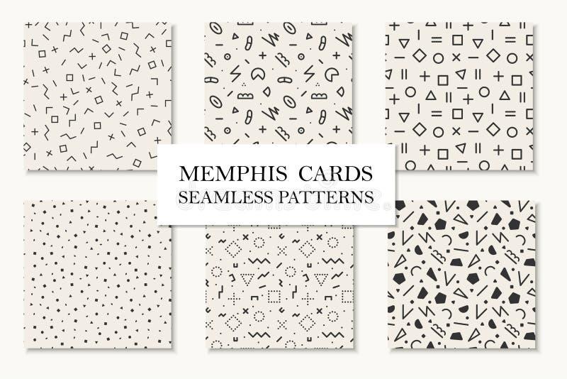 Raccolta dei modelli geometrici senza cuciture di Memphis, carte Progettazione di forme del mosaico Retro stile 80 di modo - 90s illustrazione di stock