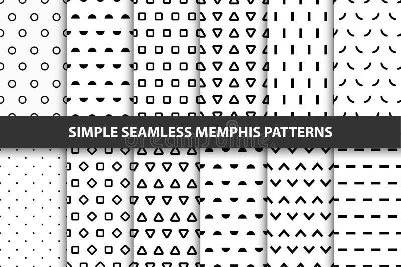 Raccolta dei modelli geometrici senza cuciture semplici Progettazione di Memphis illustrazione vettoriale