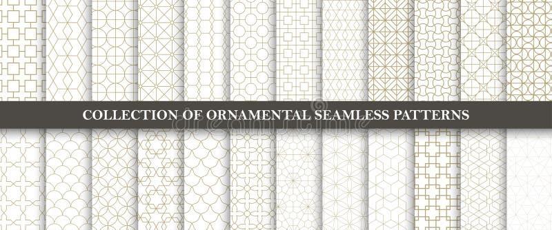 Raccolta dei modelli ornamentali senza cuciture di vettore Progettazione orientale geometrica di griglia illustrazione di stock
