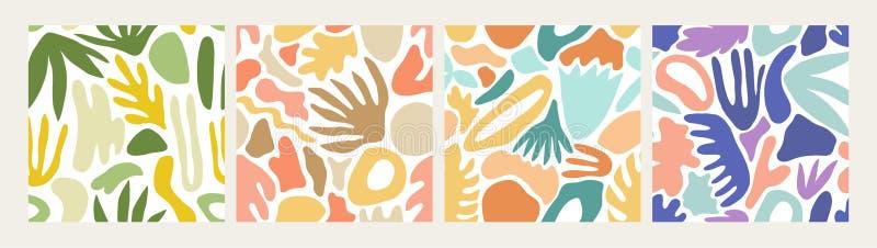 Raccolta dei modelli senza cuciture astratti moderni con le forme variopinte naturali o delle macchie su fondo bianco Eterogeneo  illustrazione di stock