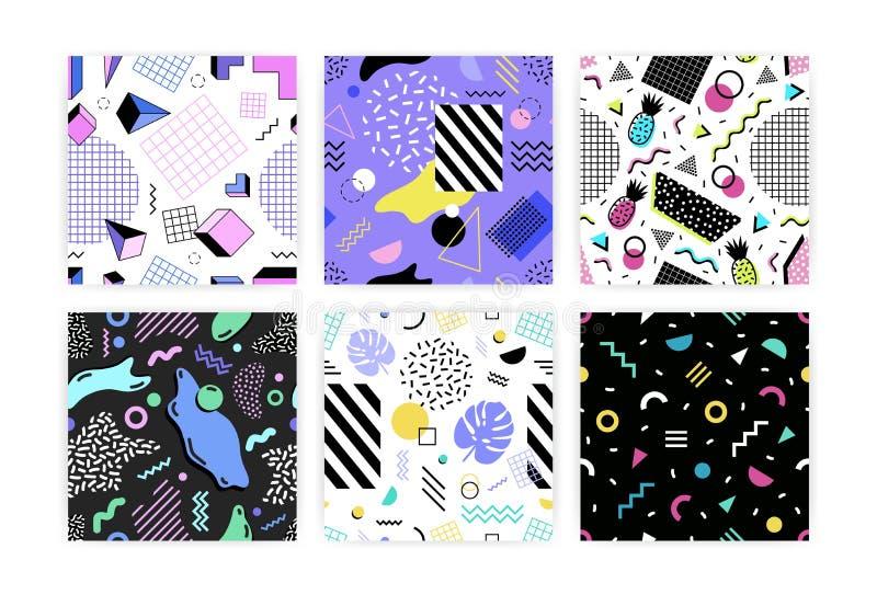 Raccolta dei modelli senza cuciture con le foglie, le forme geometriche, le bande e le linee di zigzag, ananas Illustrazione di v royalty illustrazione gratis