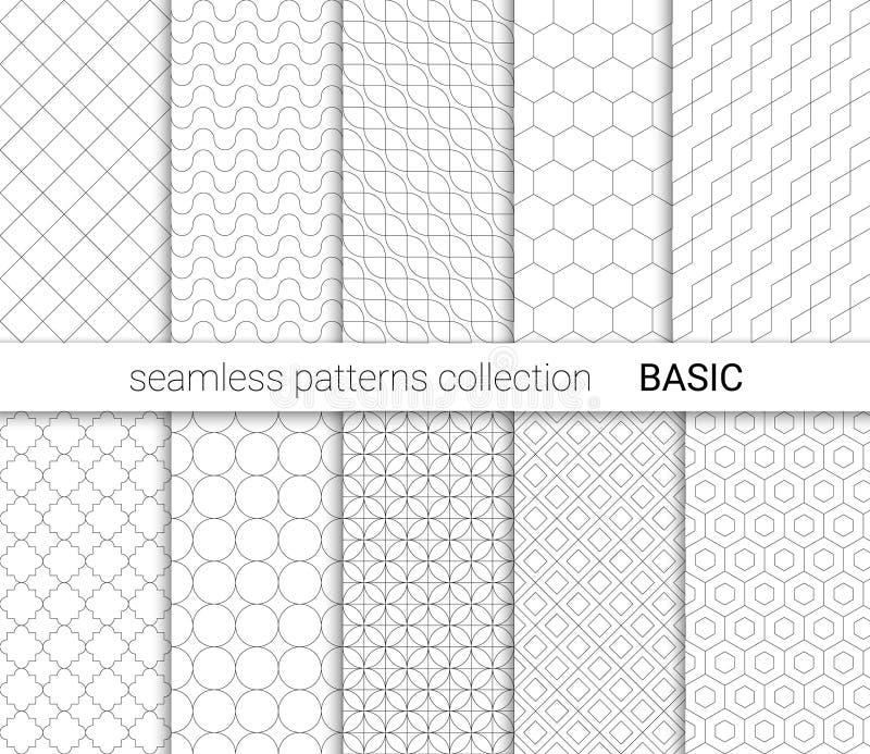Raccolta dei modelli senza cuciture di base con le linee nere illustrazione vettoriale