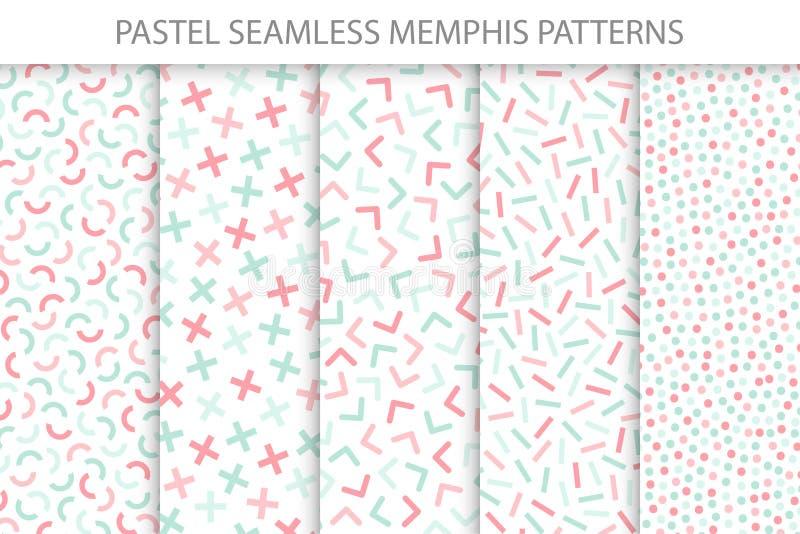 Raccolta dei modelli senza cuciture variopinti di Memphis Colori morbidi - progettazione delicata royalty illustrazione gratis