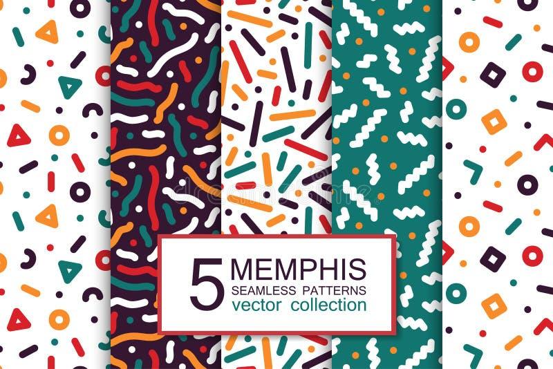 Raccolta dei modelli senza cuciture variopinti - progettazione di Memphis Modo 80-90s Ambiti di provenienza d'avanguardia astratt royalty illustrazione gratis