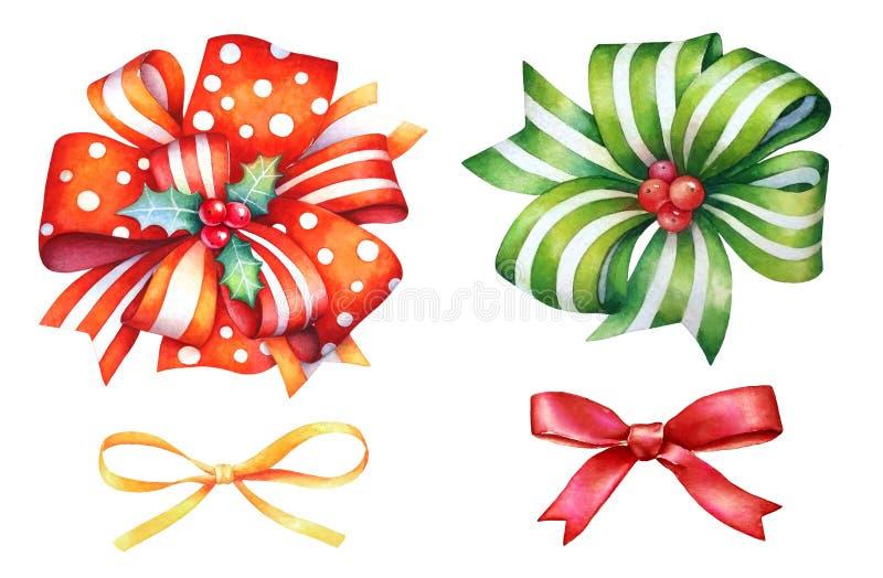 Raccolta dei nastri variopinti disegnati a mano dell'acquerello per progettazione di festa del nuovo anno e di Natale su fondo bi royalty illustrazione gratis