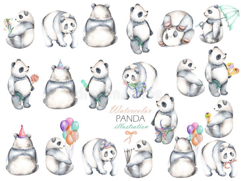Raccolta dei panda dell'acquerello, disegnato a mano isolati su un fondo bianco illustrazione vettoriale