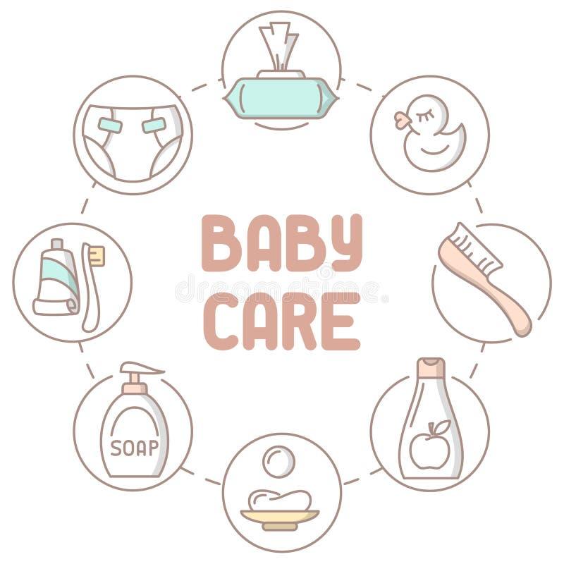 Raccolta dei prodotti di igiene del bambino illustrazione di stock