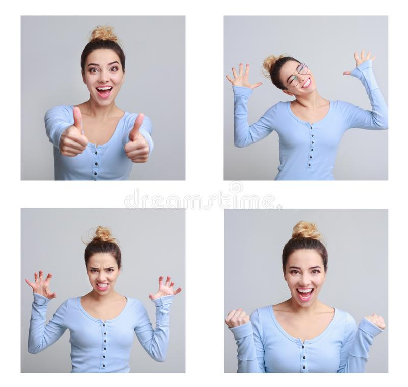 Raccolta dei ritratti della donna con le varie emozioni fotografie stock libere da diritti