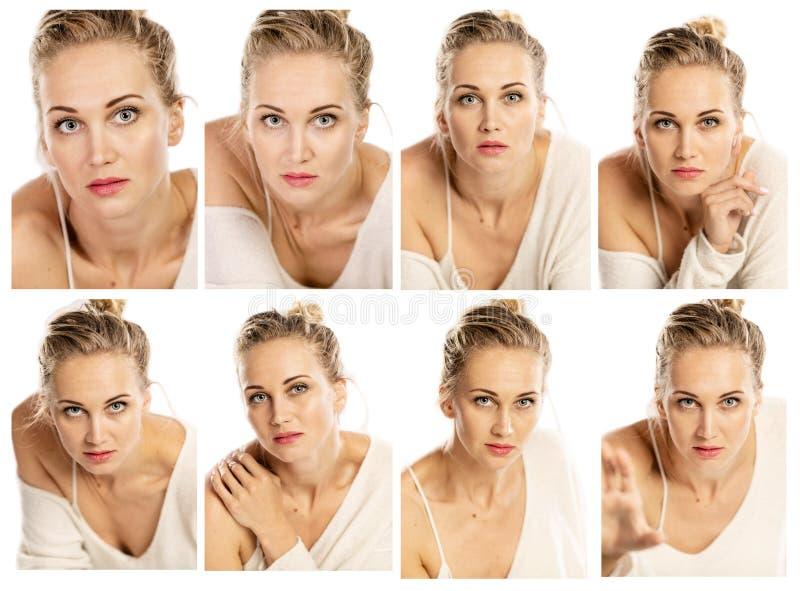 Raccolta dei ritratti emozionali di bella donna fotografie stock
