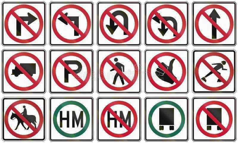 Raccolta dei segni di proibizione utilizzati in U.S.A. royalty illustrazione gratis