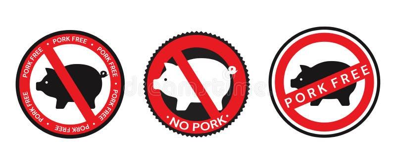 Raccolta dei segni di vettore, delle icone e delle progettazioni rossi e neri del distintivo concernenti carne di maiale senza ca royalty illustrazione gratis