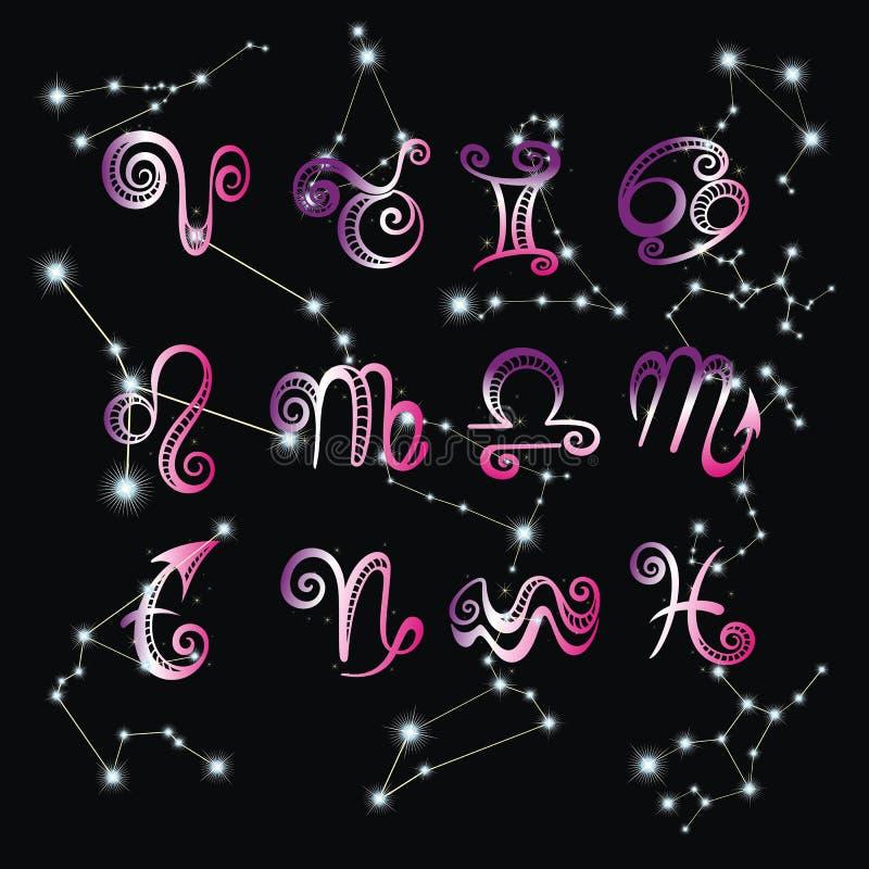 Raccolta dei segni disegnati a mano dello zodiaco Insieme di astrologia della grafica vettoriale royalty illustrazione gratis