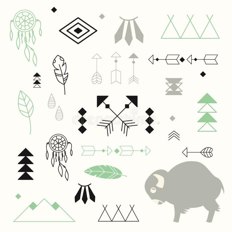 Raccolta dei simboli del nativo americano con il bufalo sveglio del bambino royalty illustrazione gratis
