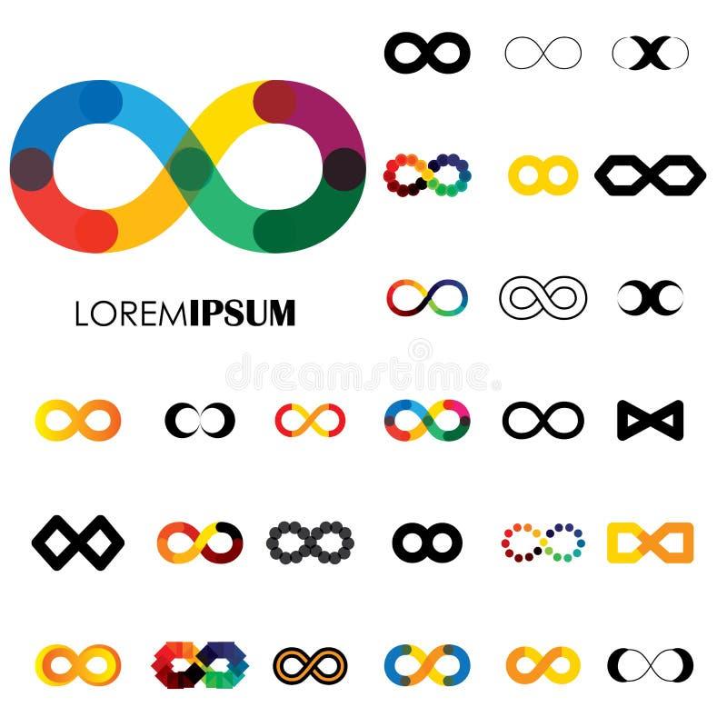 Raccolta dei simboli dell'infinito - vector le icone di logo illustrazione vettoriale