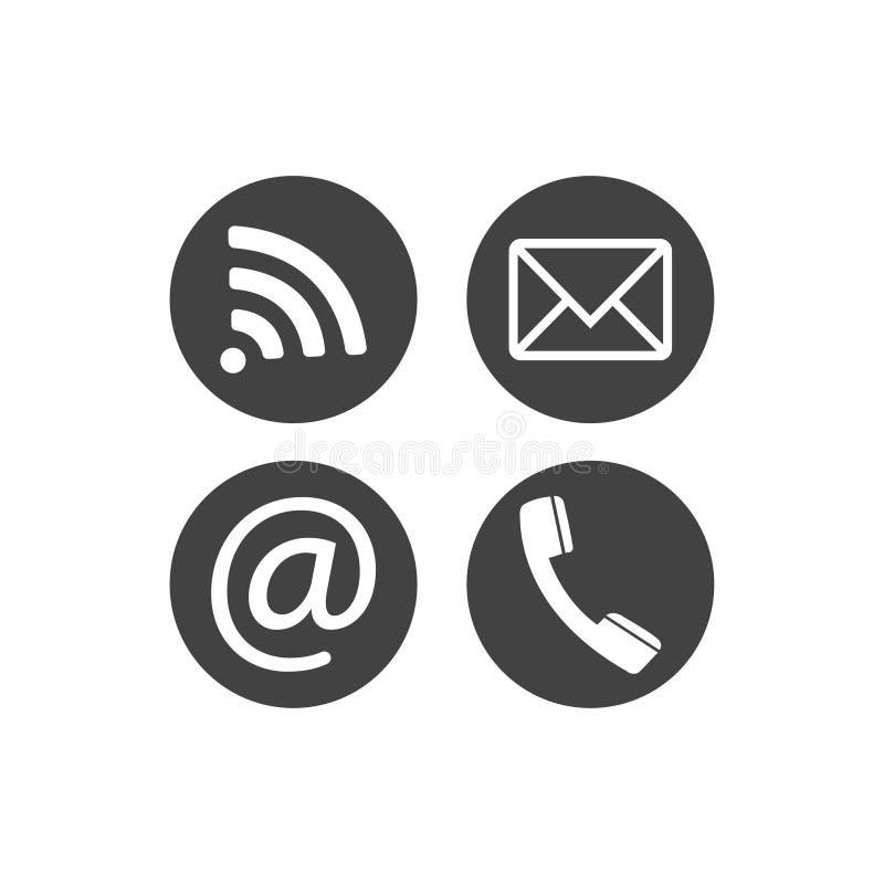 Raccolta dei simboli di comunicazione Contatto, email, telefono cellulare, messaggio, icone di tecnologia wireless Bottoni piani  illustrazione di stock