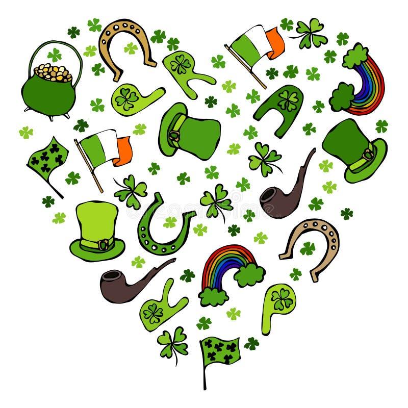 Raccolta dei simboli irlandesi Priorità bassa di figura del cuore Leprechaun cappello, ferro di cavallo, vaso di oro, bandiera, t illustrazione di stock
