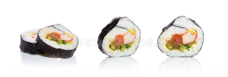 Raccolta dei sushi, isolata su fondo bianco. fotografie stock