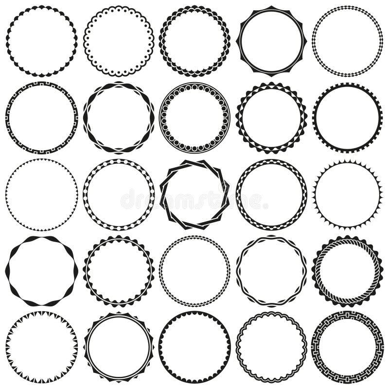 Raccolta dei telai decorativi rotondi in bianco e nero del confine in bianco e nero con chiaro fondo illustrazione vettoriale