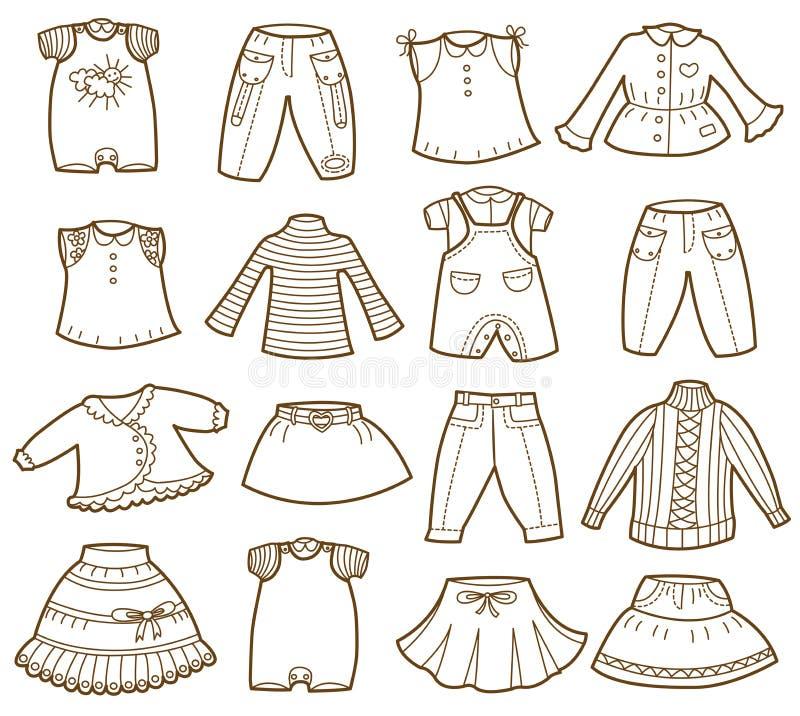 Raccolta dei vestiti dei bambini illustrazione vettoriale