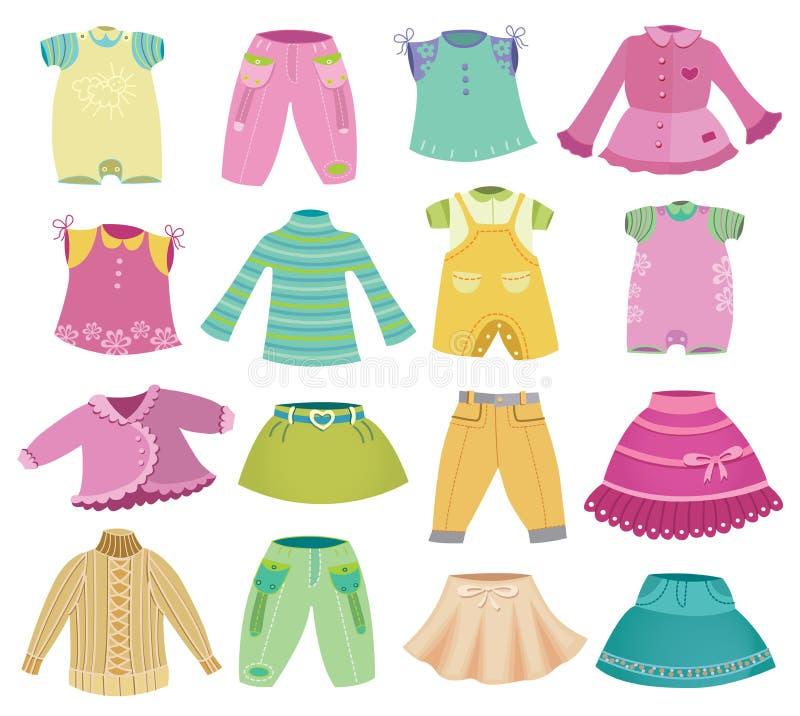 Raccolta dei vestiti dei bambini illustrazione di stock