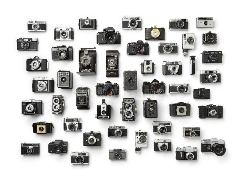 Raccolta del ` analogico d'annata s della macchina fotografica immagini stock