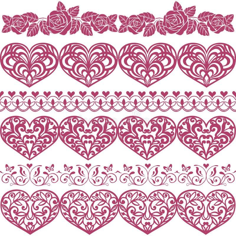 Raccolta del confine con i cuori, rose Insieme degli elementi di progettazione di vettore, cuori, rose, farfalla royalty illustrazione gratis