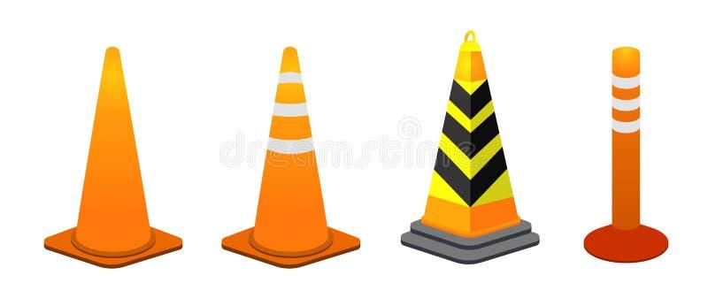Raccolta del cono di traffico royalty illustrazione gratis