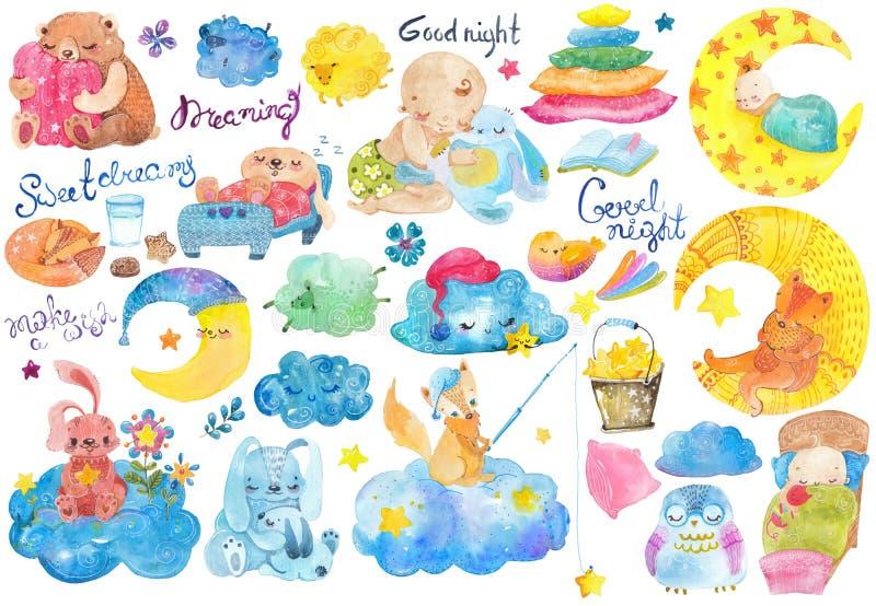 Raccolta del fumetto della buona notte illustrazione di stock