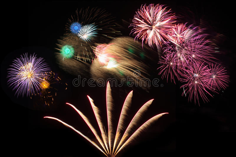 Raccolta del fuoco d'artificio immagine stock