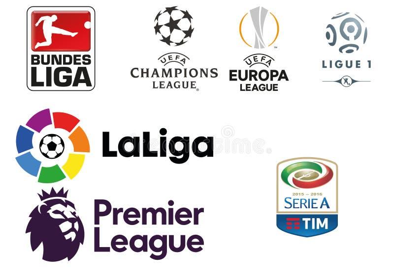 Raccolta del logos delle leghe di football americano europee principali illustrazione vettoriale