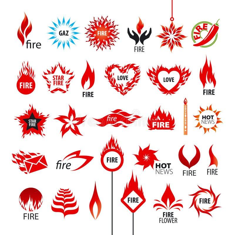 Raccolta del logos fuoco e fiamme di vettore illustrazione di stock
