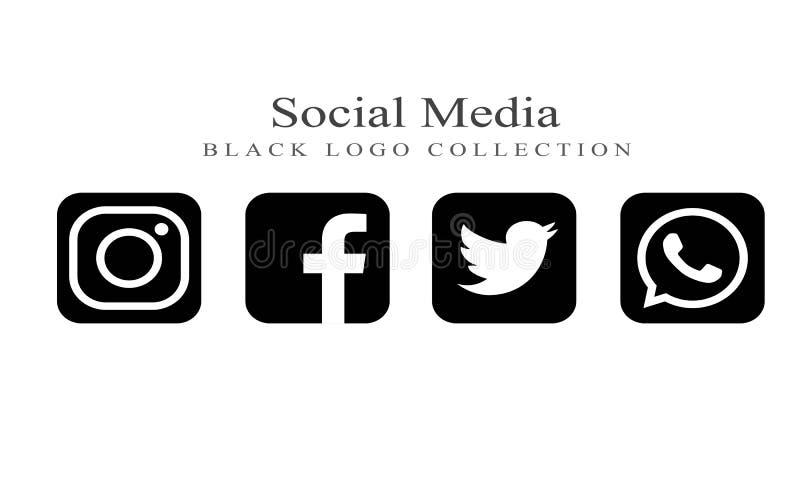 Raccolta del logos sociale di media su colore nero illustrazione vettoriale