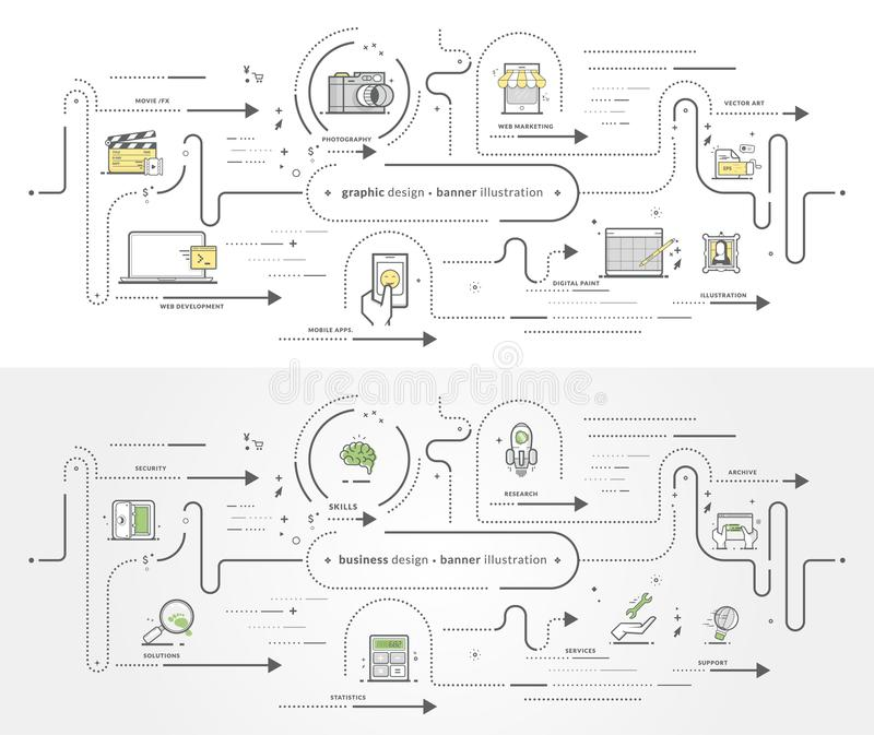 Raccolta del modello dell'insegna di affari con le icone immagini stock libere da diritti