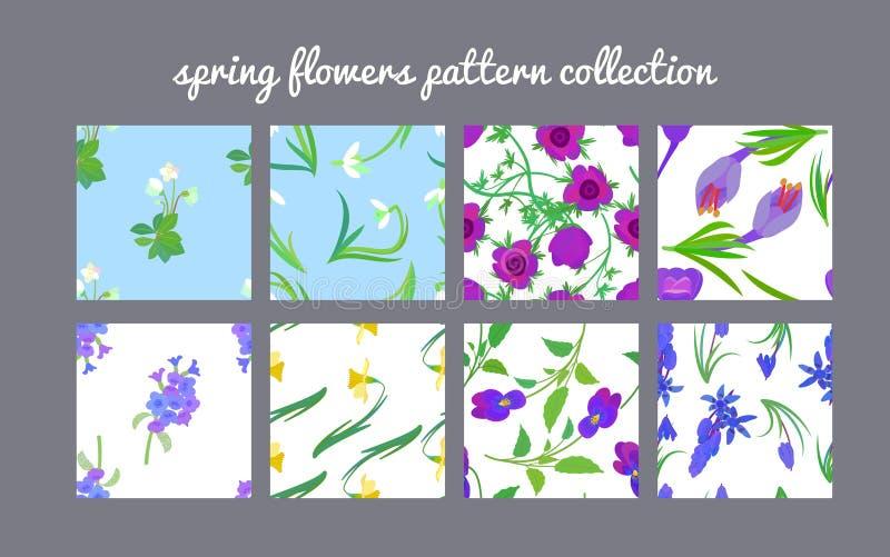 Raccolta del modello di fiori della primavera royalty illustrazione gratis