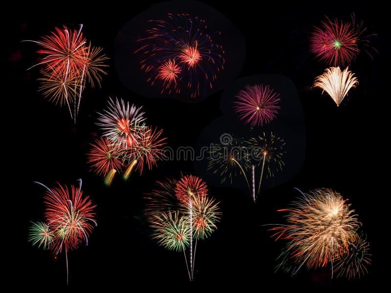 Raccolta del Natale e del fuoco d'artificio variopinto del nuovo anno immagine stock