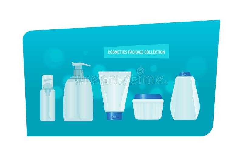 Raccolta del pacchetto dei cosmetici Insieme realistico di sapone liquido, crema, profumo illustrazione vettoriale