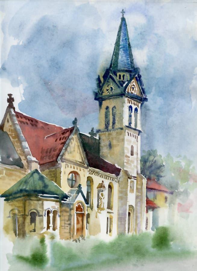 Raccolta del paesaggio dell'acquerello: Vita del villaggio illustrazione vettoriale